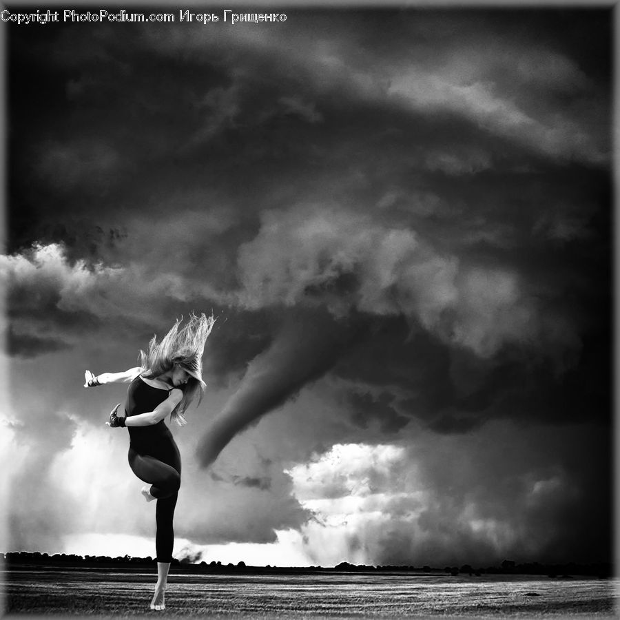 Outdoors, Storm, Weather, Dance, Dance Pose, Female, Person