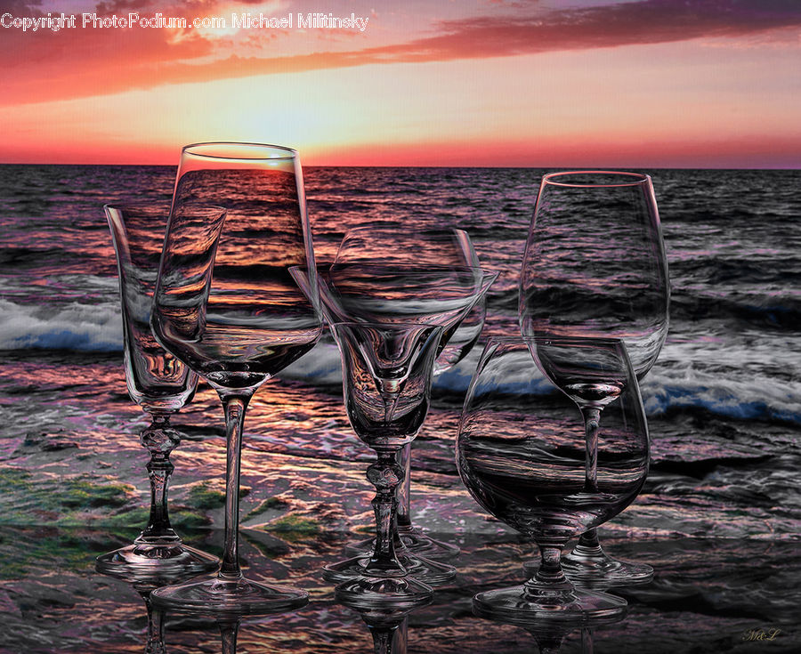 Glass, Goblet, Chair, Furniture, Outdoors, Sea, Water
