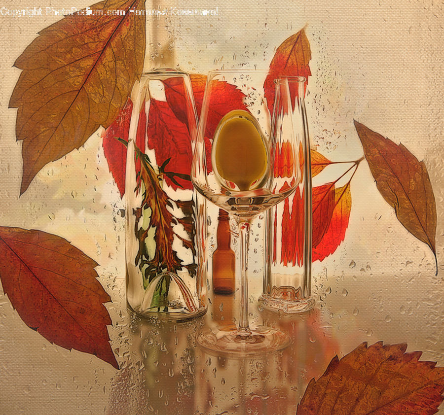 Glass, Goblet, Maple, Maple Leaf, Plant, Art, Modern Art