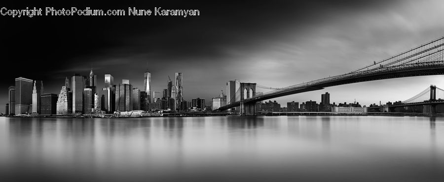 City, Downtown, Metropolis, Urban, Bridge, Building, High Rise