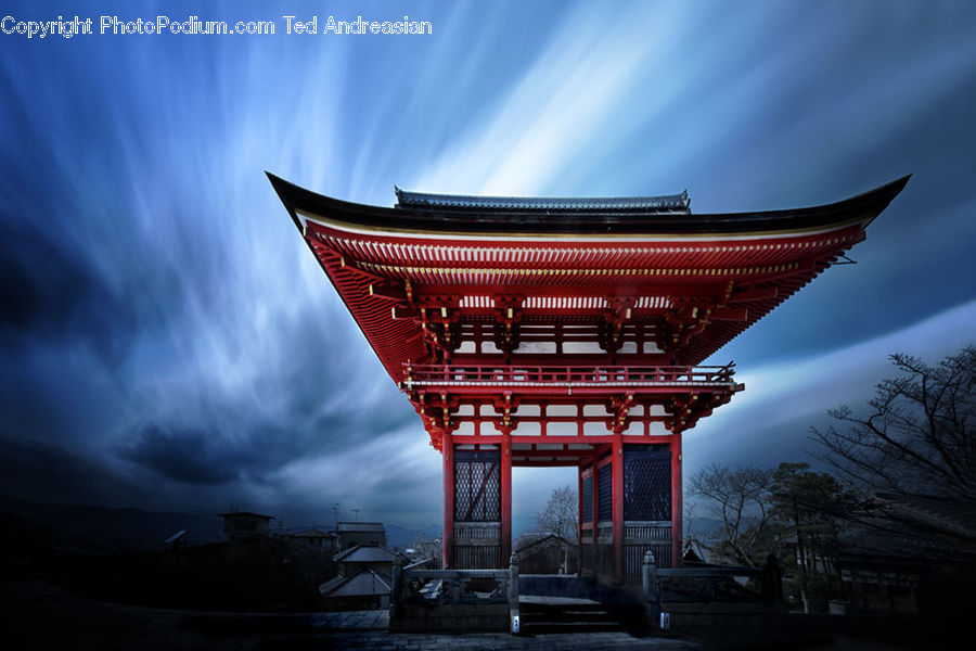Gate, Torii, Building, Office Building, Gazebo, City, Downtown
