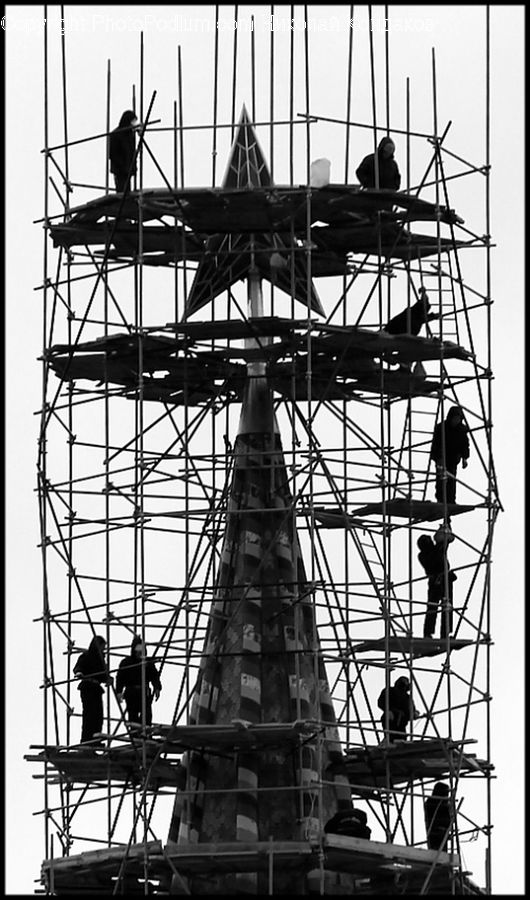 People, Person, Human, Construction, Scaffolding, Airfield, Airplane