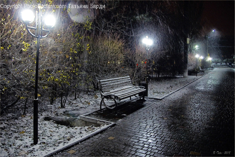 Bench, Headlight, Light, Cobblestone, Path