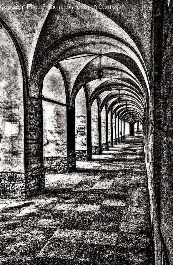 Corridor, Architecture, Building, Crypt, Arched