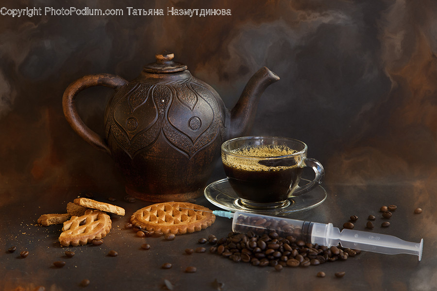Pottery, Pot, Teapot, Bread, Food