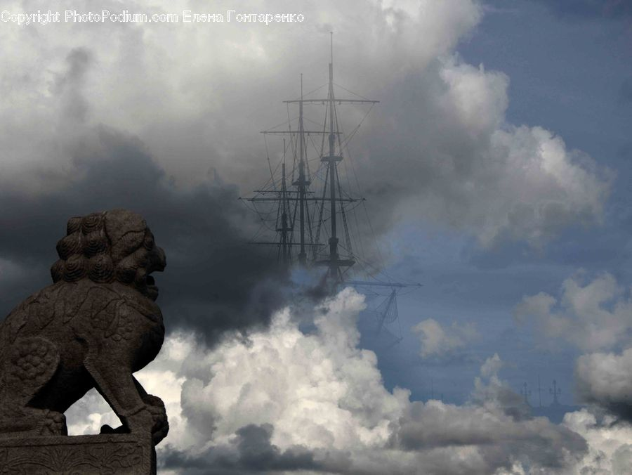 Art, Sculpture, Statue, Gargoyle, Azure Sky, Cloud, Outdoors